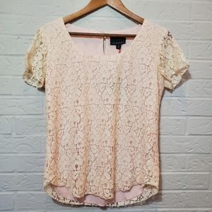 Cynthia Rowley Lace Pink Cream Top Size Small